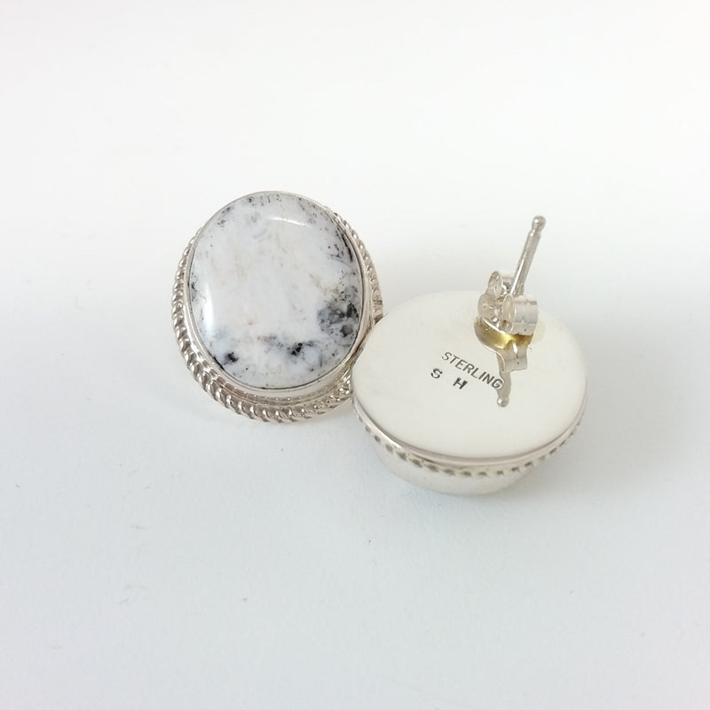 Shirley Henry Navajo white buffalo sterling silver earrlings.