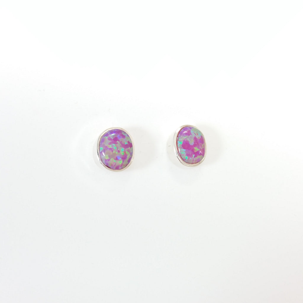 Navajo opal sterling silver stud earrings.