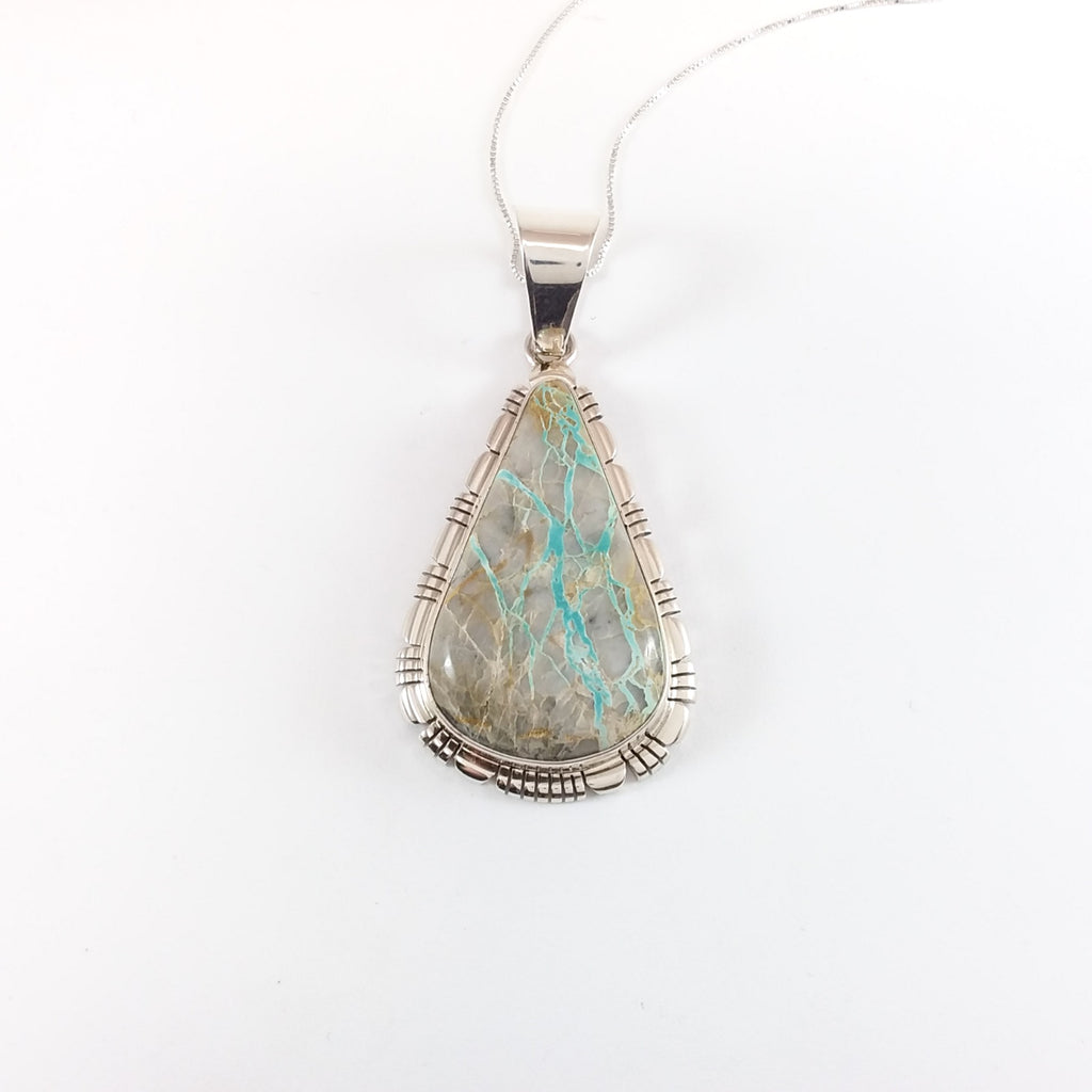 Robert Concho boulder turquoise sterling silver pendant.
