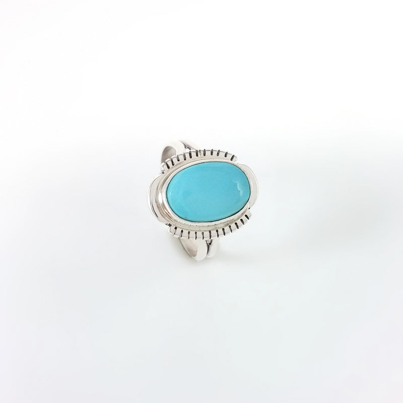 Blue Turquoise Ring by Larry Yazzie