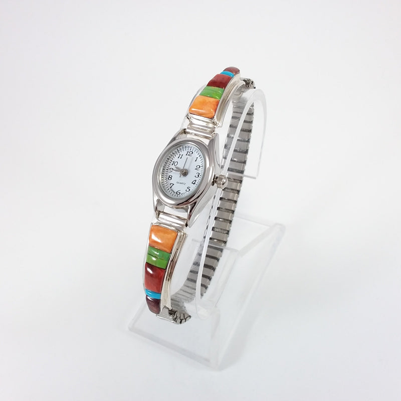 Navajo sterling silver multi stone watch band.