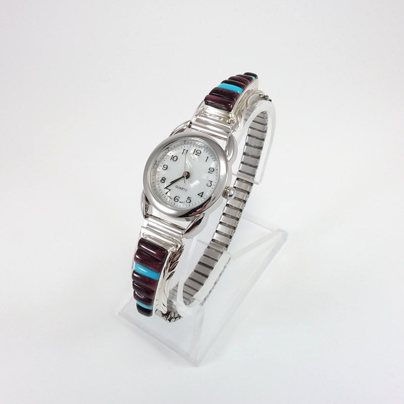 Navajo spiny oyster and turquoise sterling silver watch band.