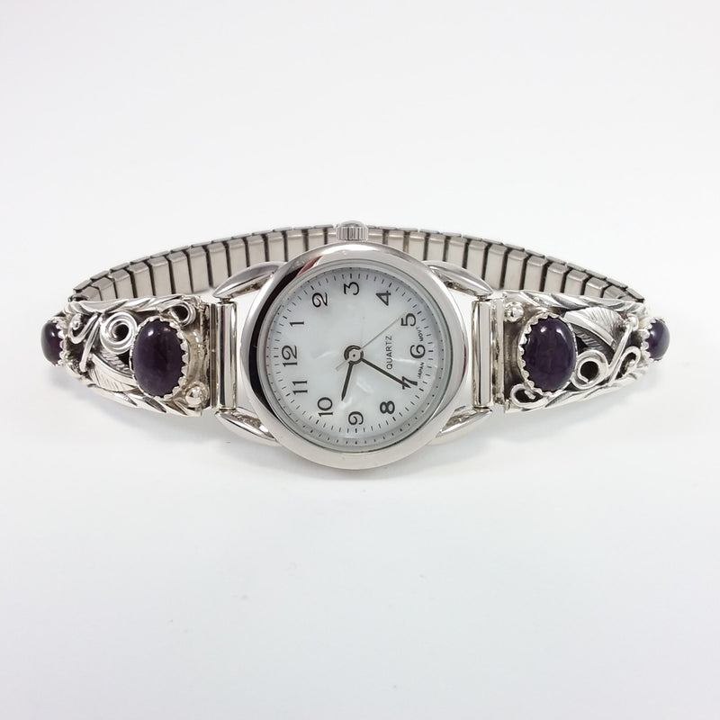 Navajo sugilite sterling silver watch band.