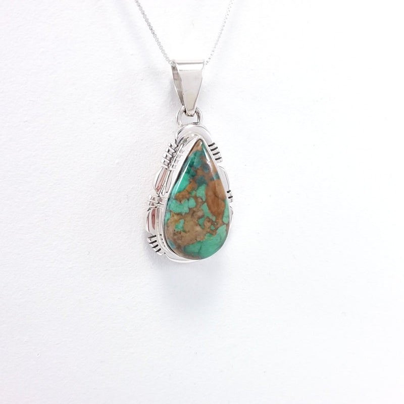 Jarold Francisco green turquoise sterling silver pendant