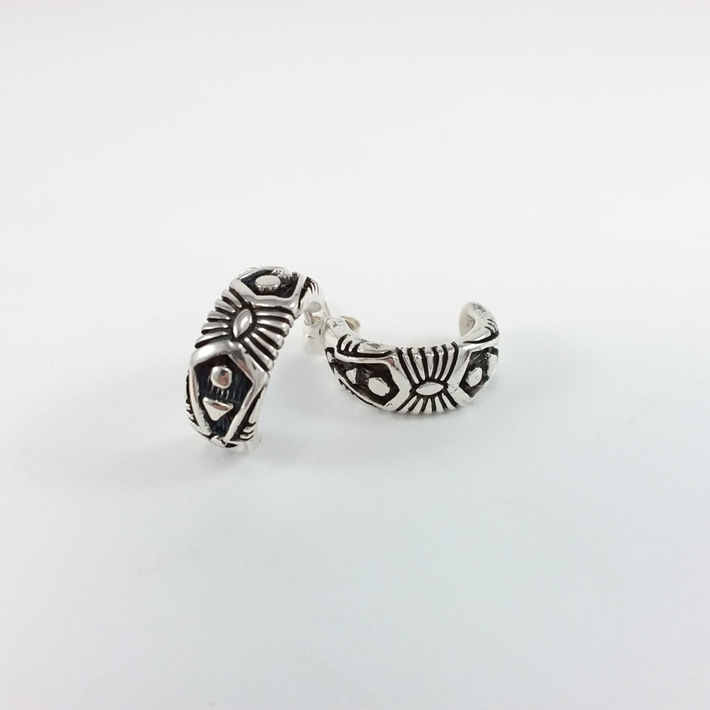 Navajo sterling silver hoop earrings.
