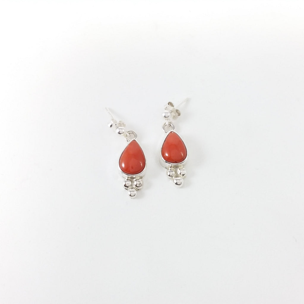 Navajo coral sterling silver earrings.