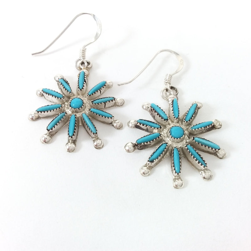 Philander Gia turquoise sterling silver needle point earrings.