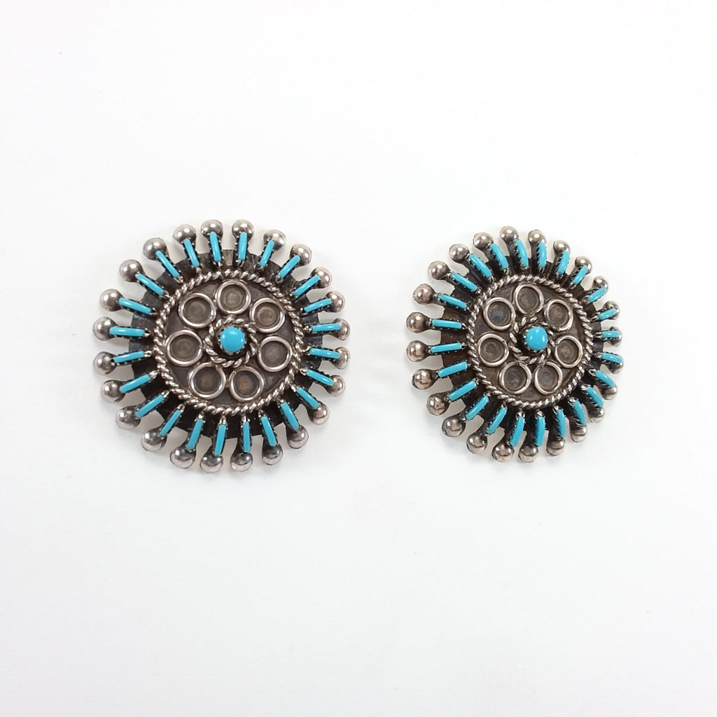 Philander Gia Zuni turquoise sterling silver needle point earrings.