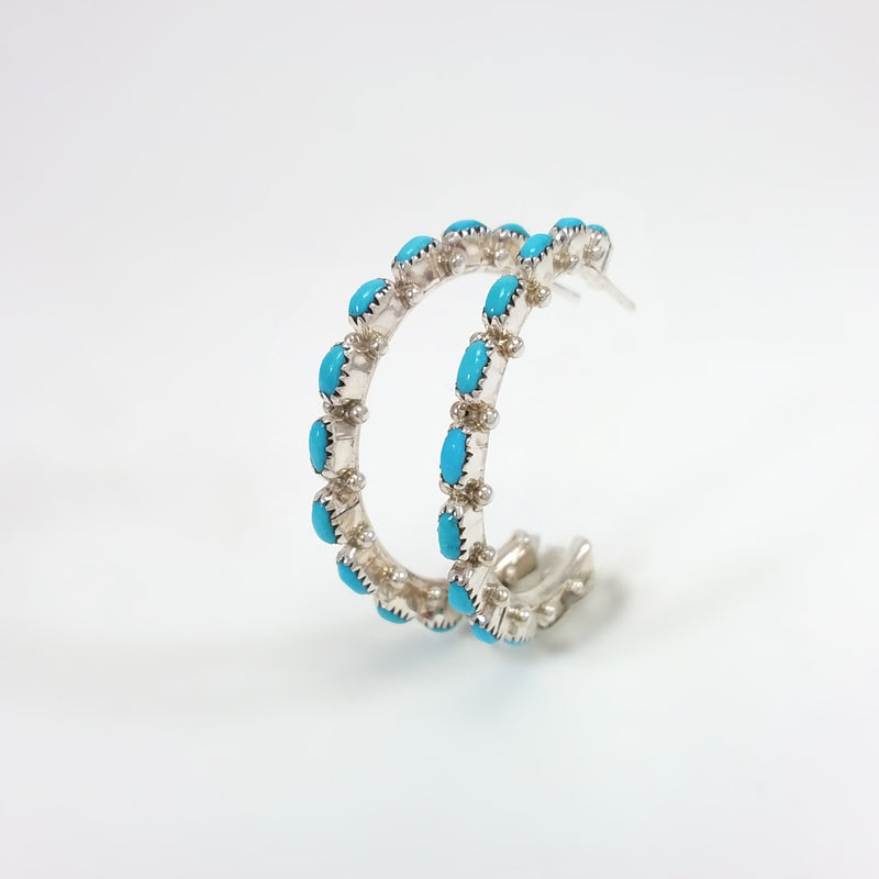 Bernard Cadnini turquoise sterling silver hoop earrings.