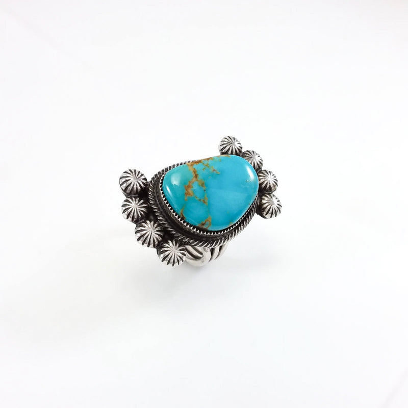 Blue Turquoise Ring by Leon Martinez
