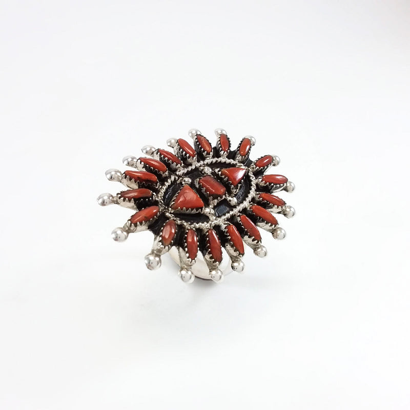 Zuni Needlepoint Coral Ring