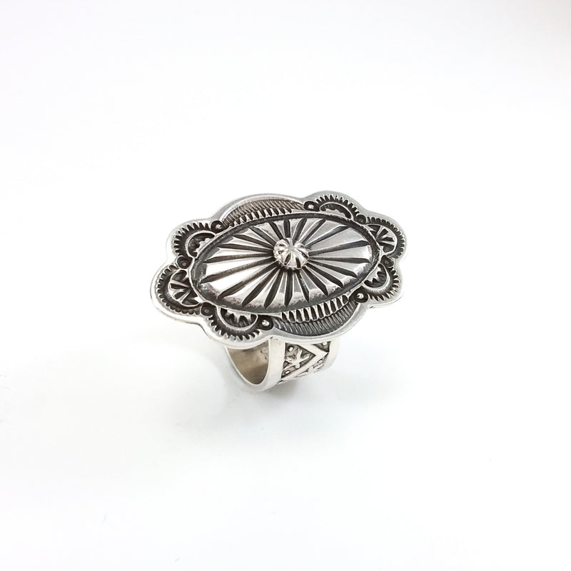 Silver Stamp Ring by Darrell Cadman