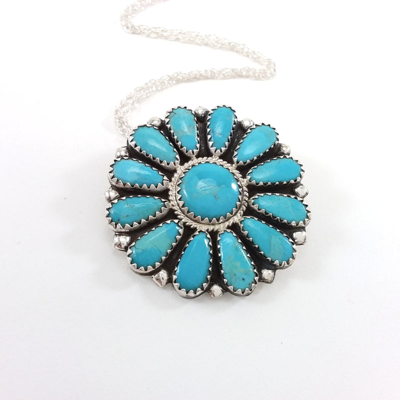 Zelda Begay turquoise sterling silver pin/pendant