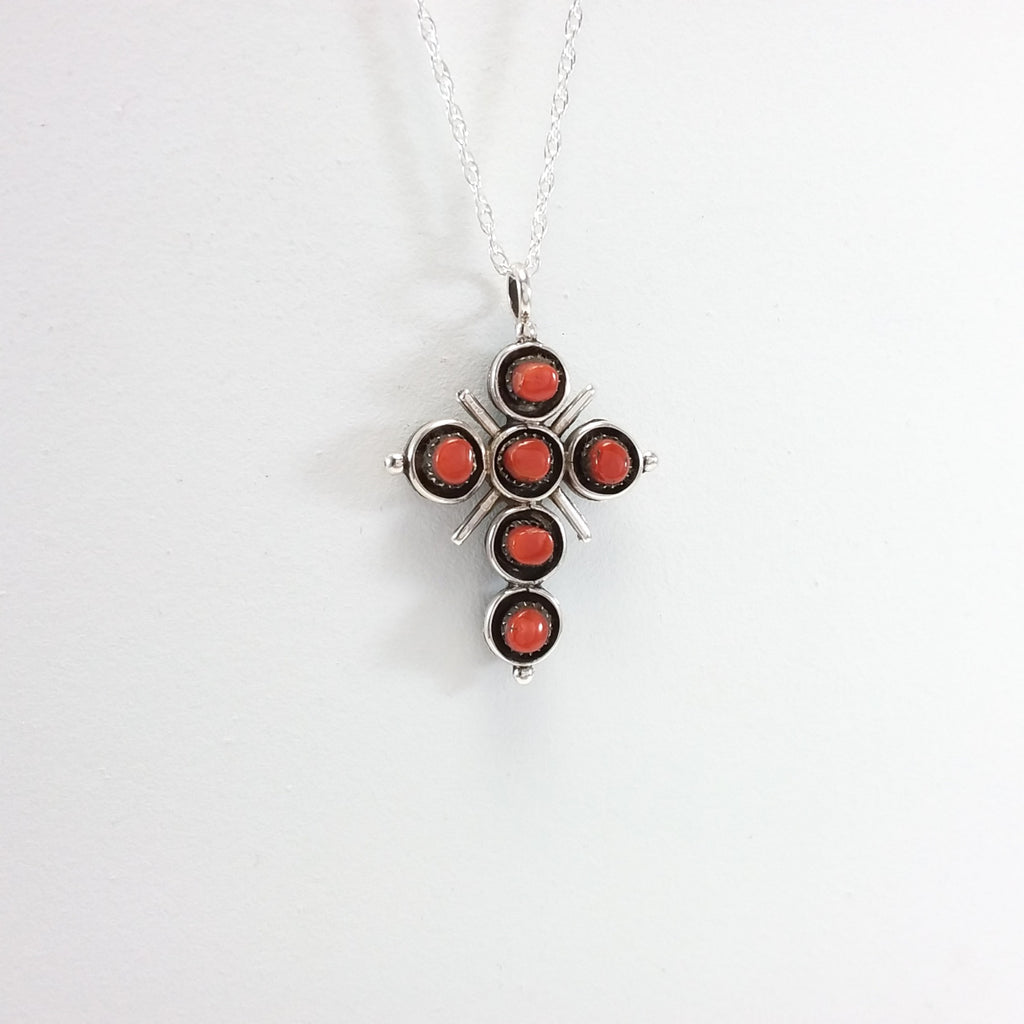 Zuni turquoise and coral sterling silver double sided cross pendant