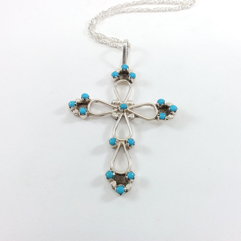 Zuni turquoise sterling silver cross pendant