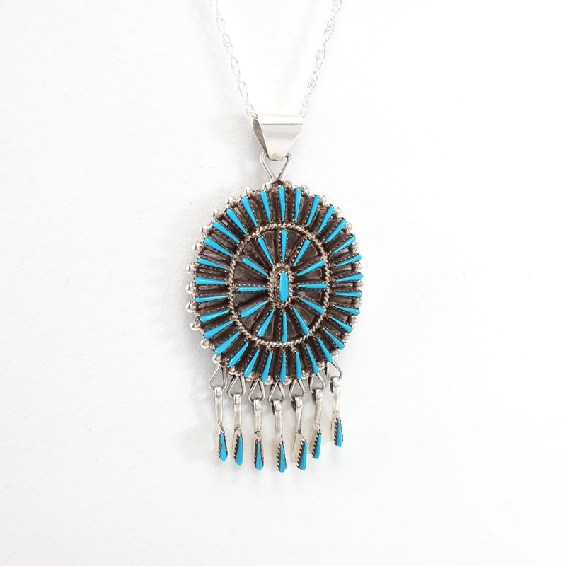 Shirley Lahi turquoise sterling silver pendant
