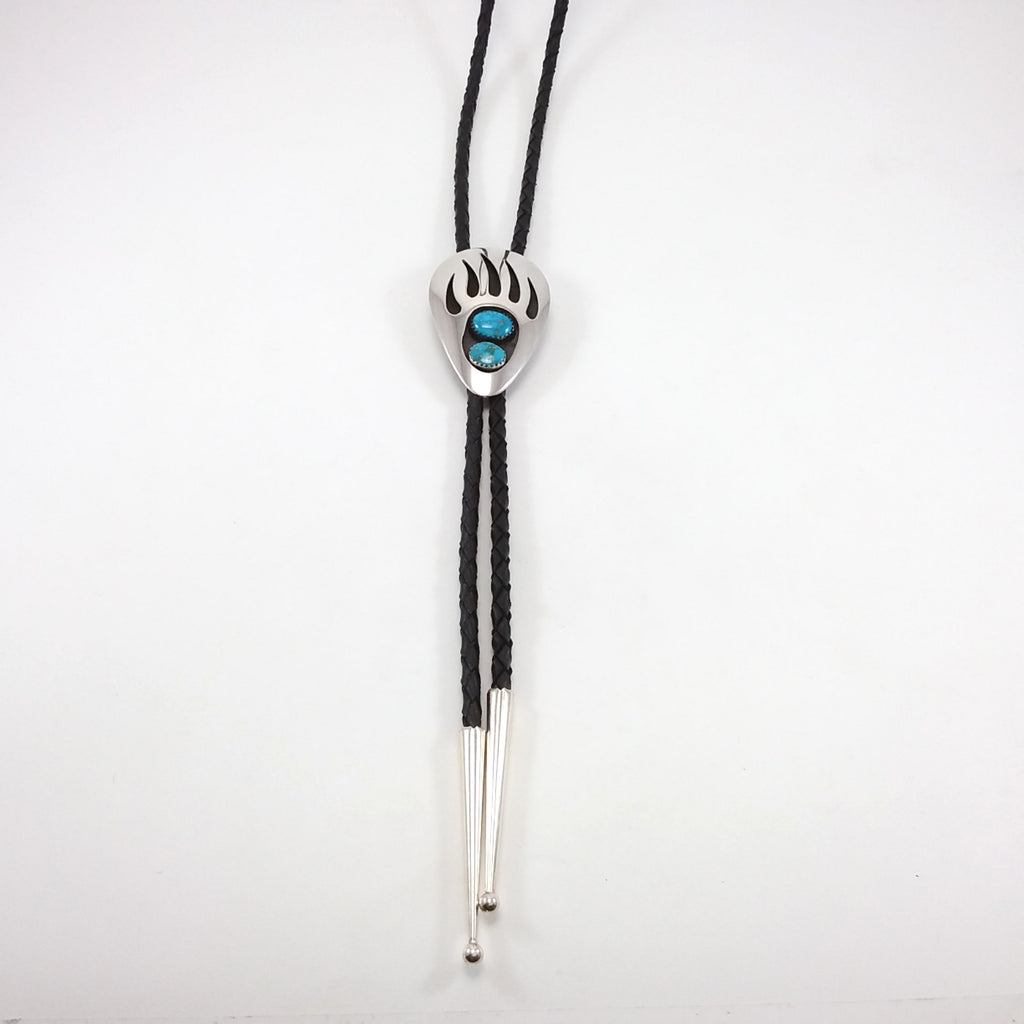Navajo turquoise sterling silver bear paw shadow box bolo.