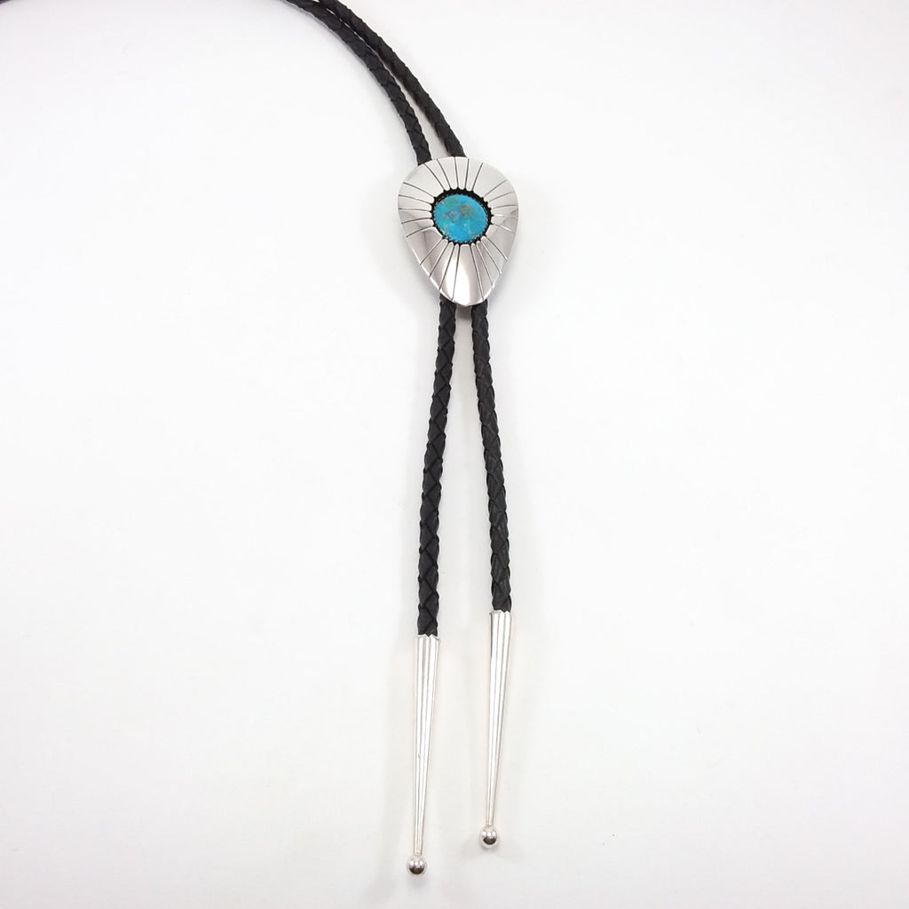 Navajo turquoise sterling silver bolo tie.