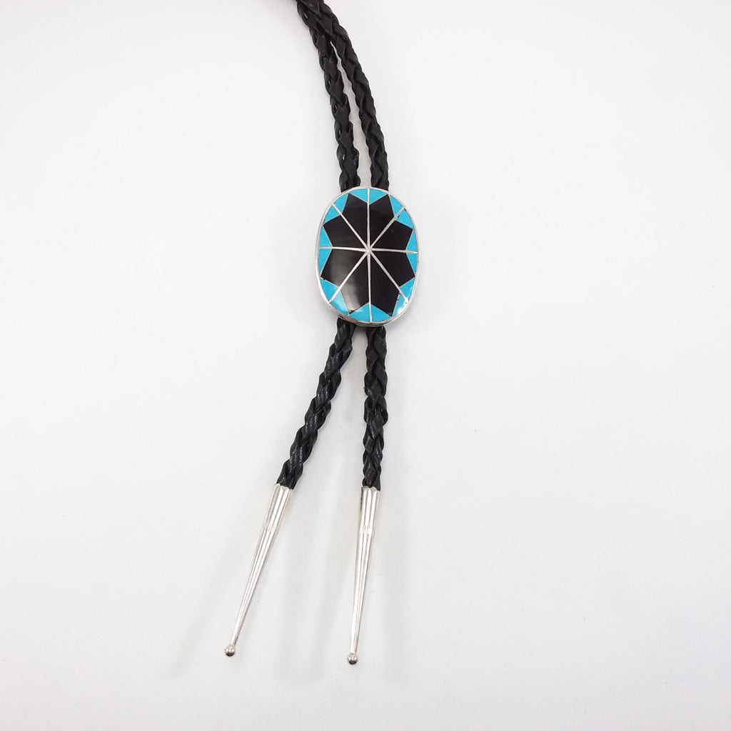 Zuni turquoise and jet inlay bolo tie.