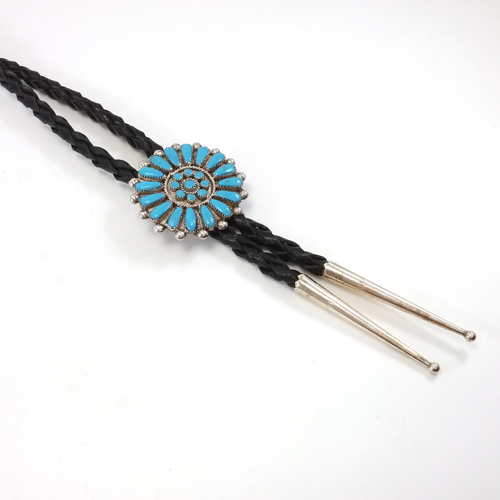 Zuni turquoise sterling silver petit point bolo tie.