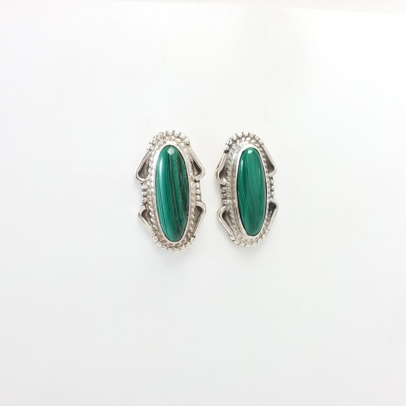 Navajo malachite sterling silver earrings.