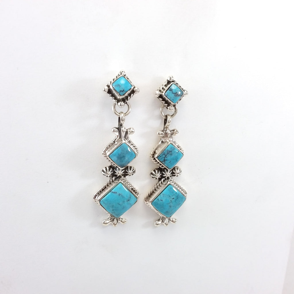 Navajo turquoise sterling silver earrings.