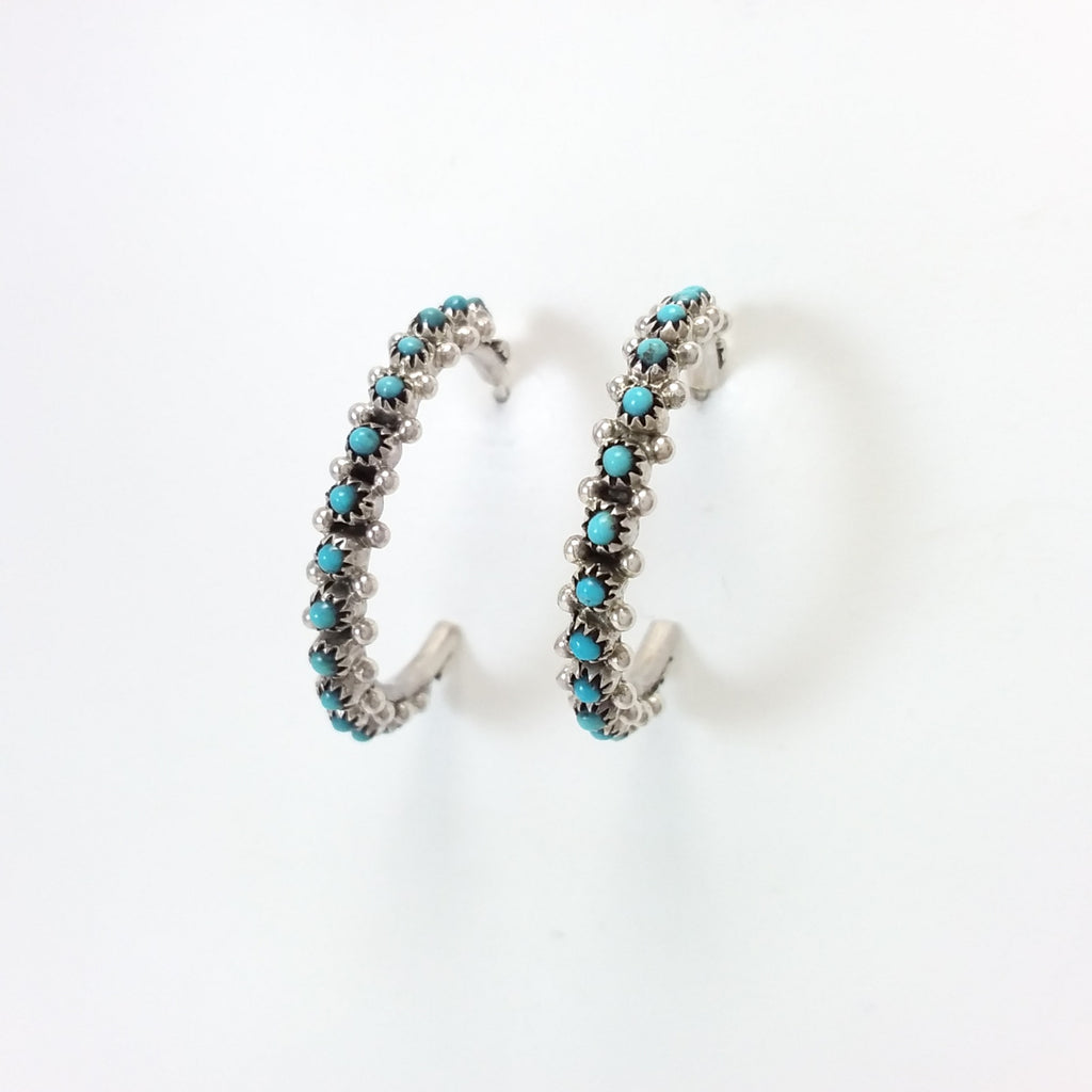 Zuni turquoise sterling silver hoop earrings.