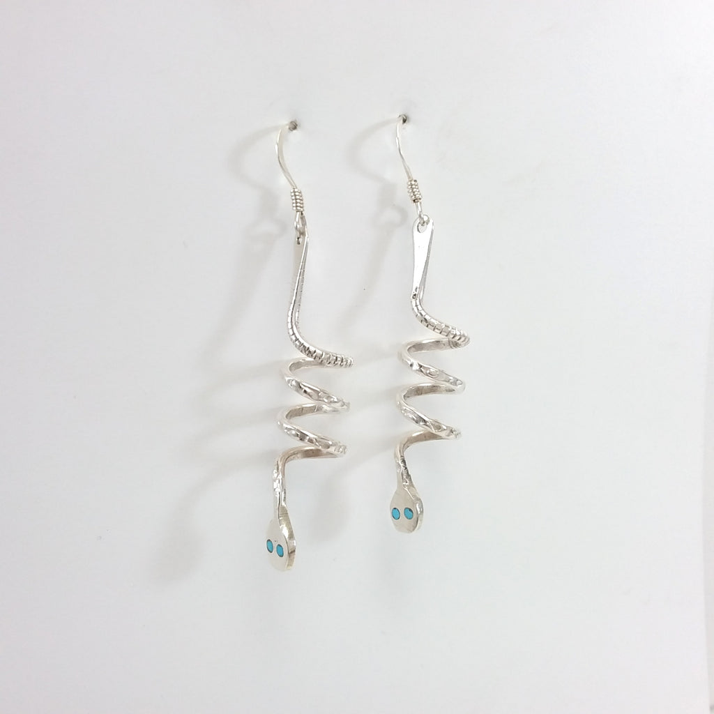Effie Calabaza sterling silver with turquoise snake earrings.