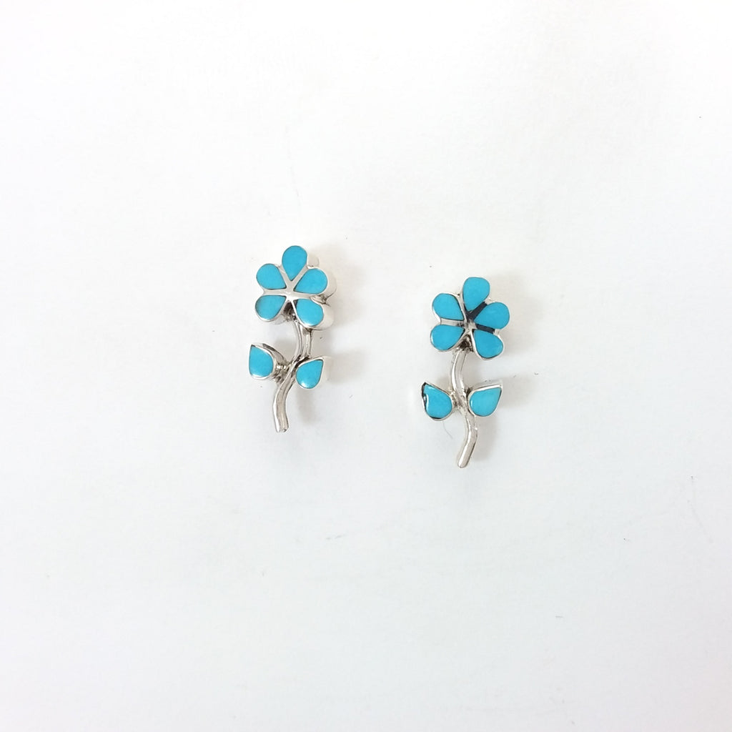 Navajo turquoise sterling silver flower post earrings.