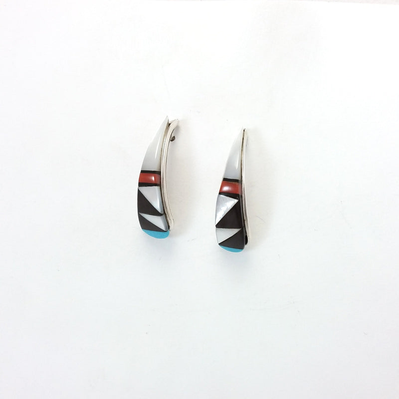 Zuni multi stone sterling silver inlay earrings.