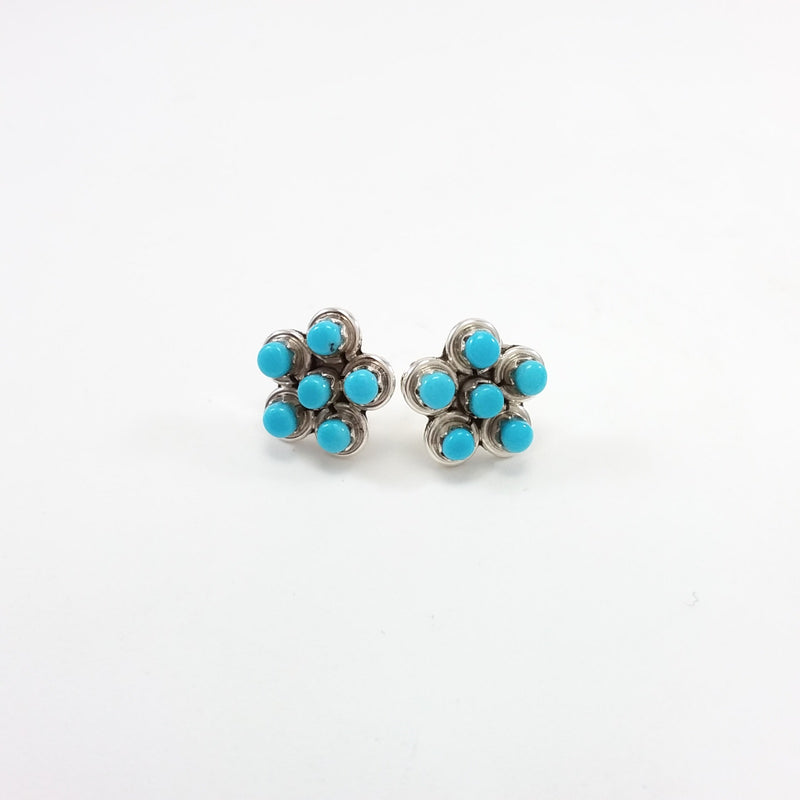 Zuni turquoise sterling silver flower earrings.
