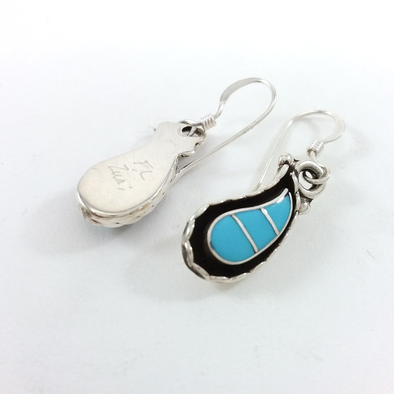 Faye Lowsayatee Zuni turquoise sterling silver earrings.