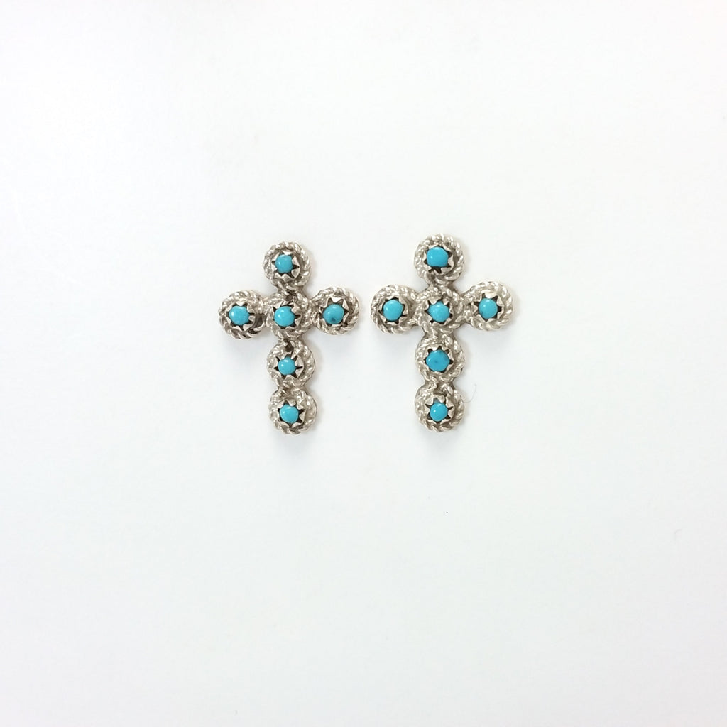 Zuni turquoise sterling silver cross earrings.