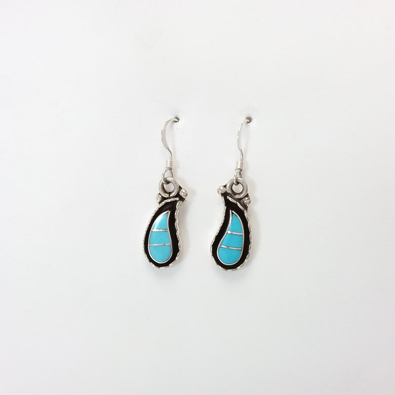Faye Lowsayatee Zuni turquoise sterling silver inlay earrings.