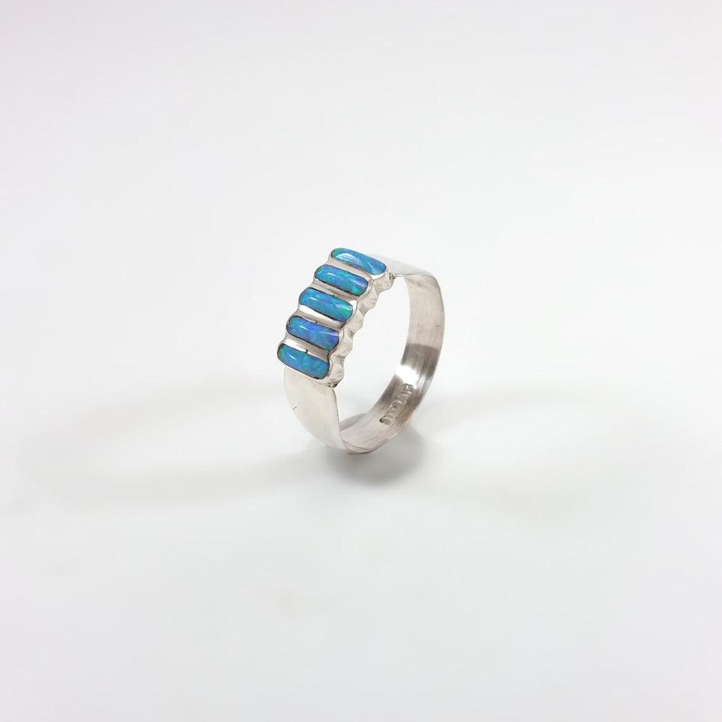 Zuni opal sterling silver inlay ring, pedi point, october birthstone, Indian Native American jewelry
