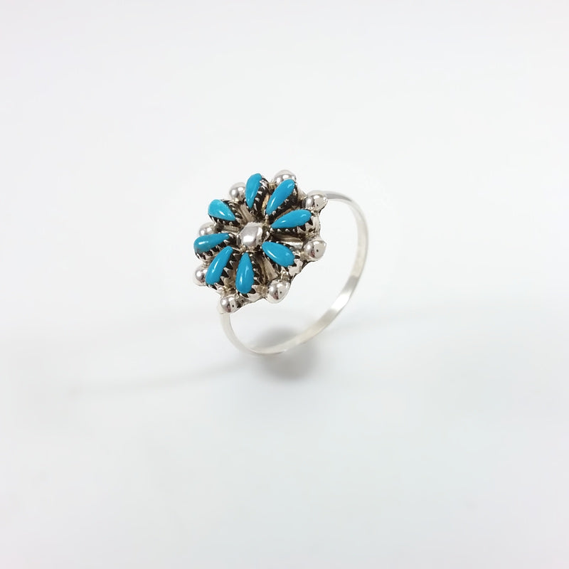 Zuni turquoise sterling silver flower inlay ring.