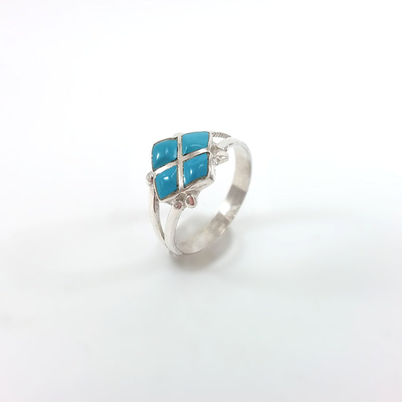 Zuni turquoise sterling silver inlay ring. Inlaid Native American Ring, Indian Jewelry
