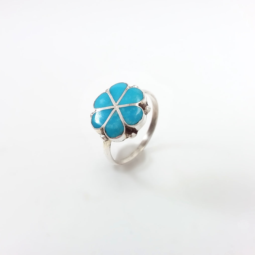 Zuni turquoise sterling silver inlay ring.