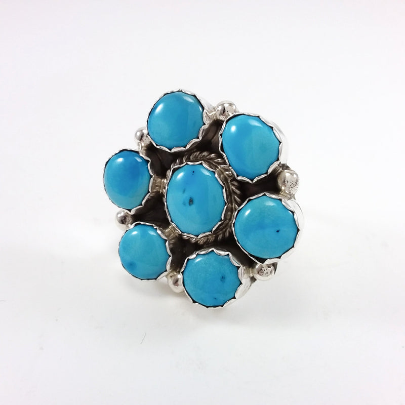 Large Turquoise Cluster Ring by Farlene Spencer