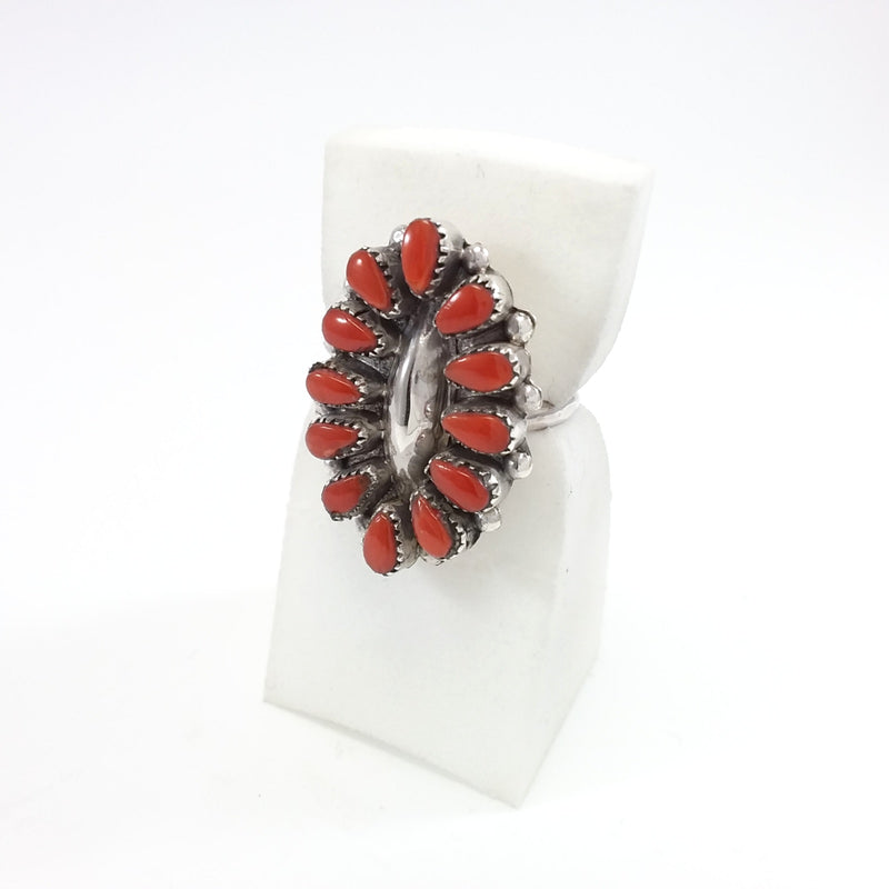 Mary Ann & Felix Chavez Zuni Pueblo Coral sterling silver ring.