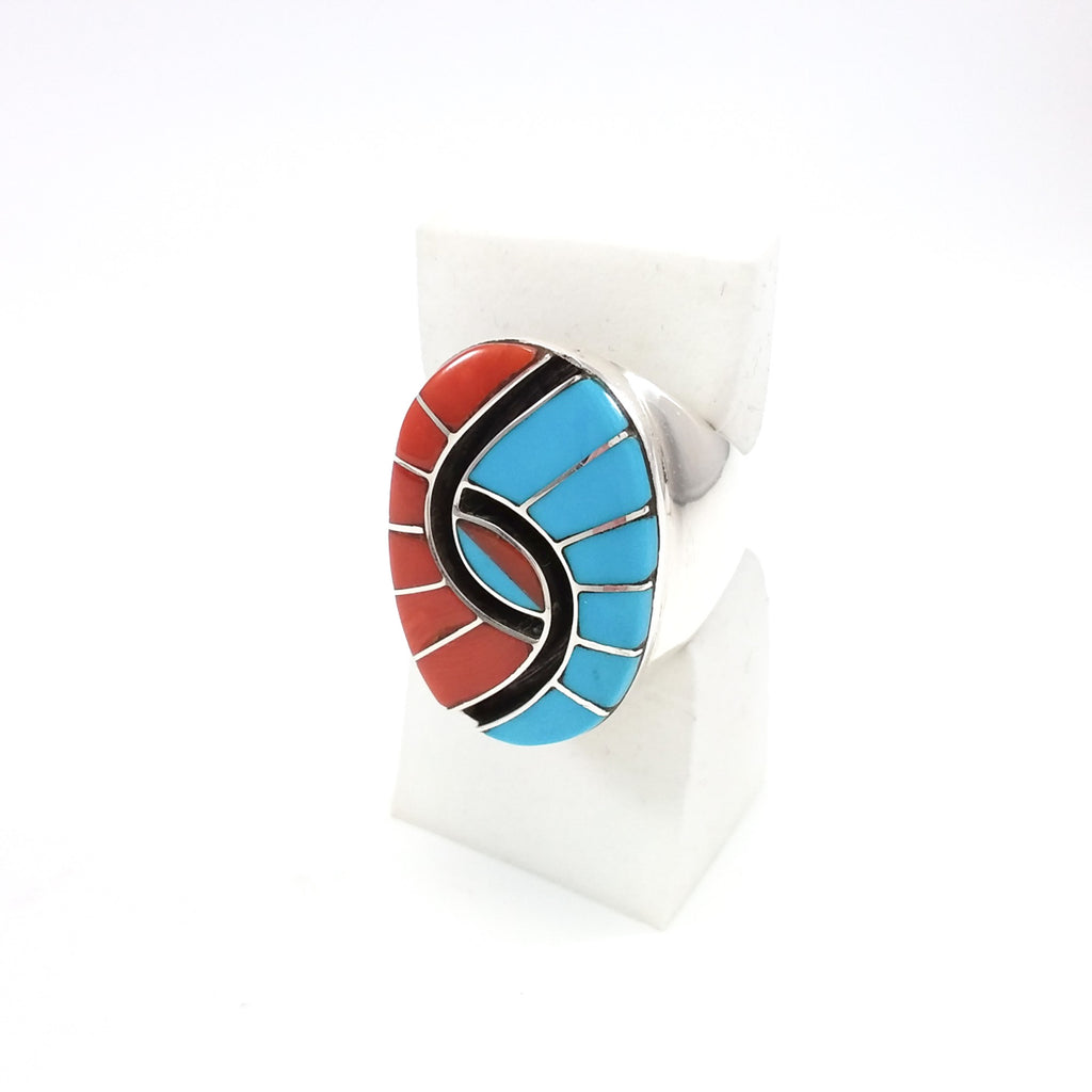 Amy Quandelacy Ring, Humming Bird Eye, Zuni, Inlaid, Inlay Native American Jewelry, Ring 10.25, Coral, Turquosie