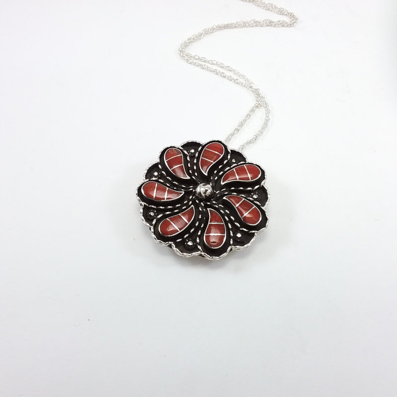 Zuni coral sterling silver inlay pin/pendant