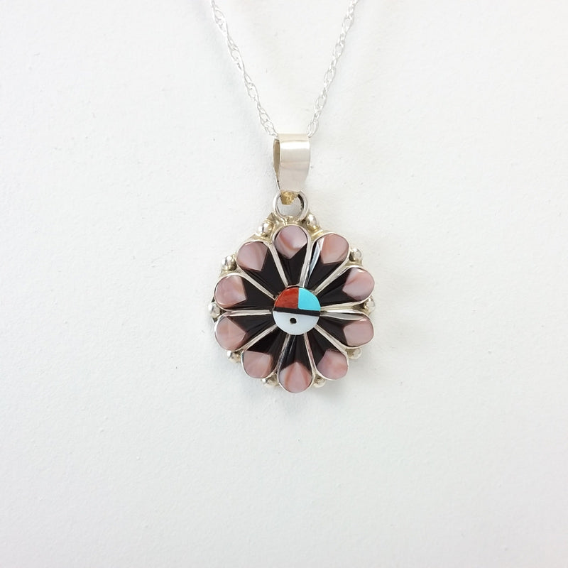 Zuni multi stone sterling silver inlay pendant