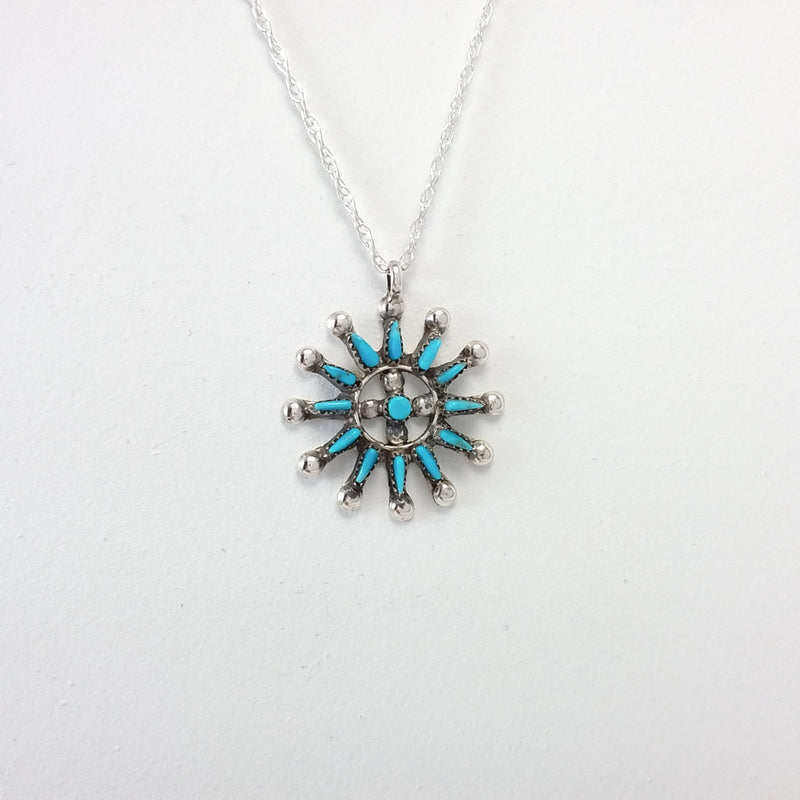 Zuni turquoise sterling silver needle point pendant