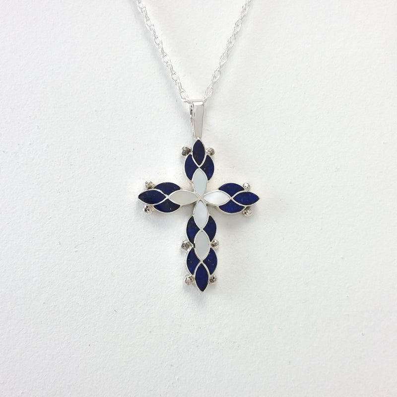 Zuni lapis and mother of pearl sterling silver inlay pendant.