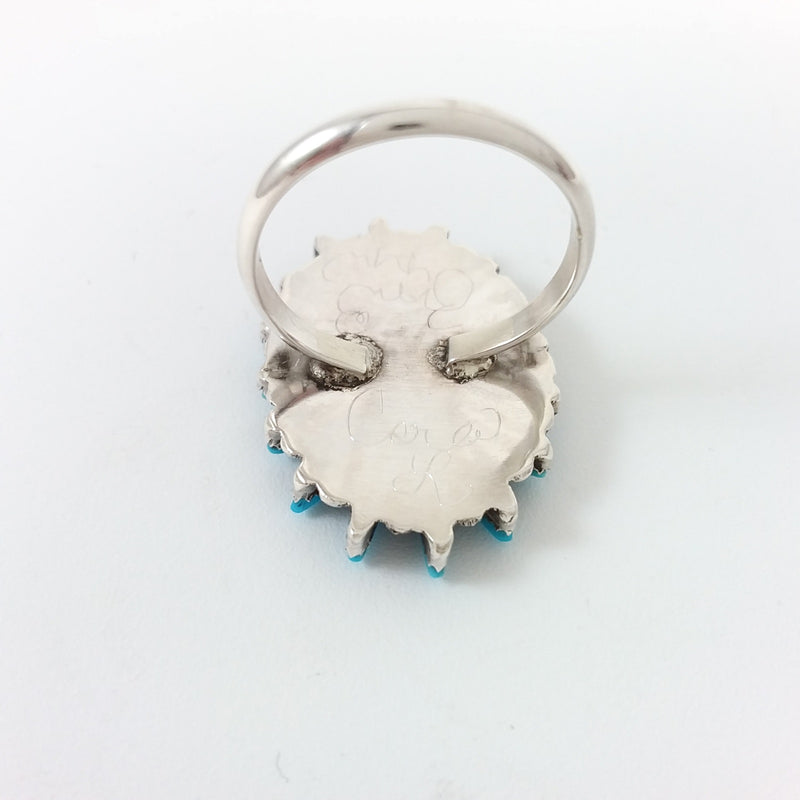 Zuni turquoise sterling silver needlepoint ring.