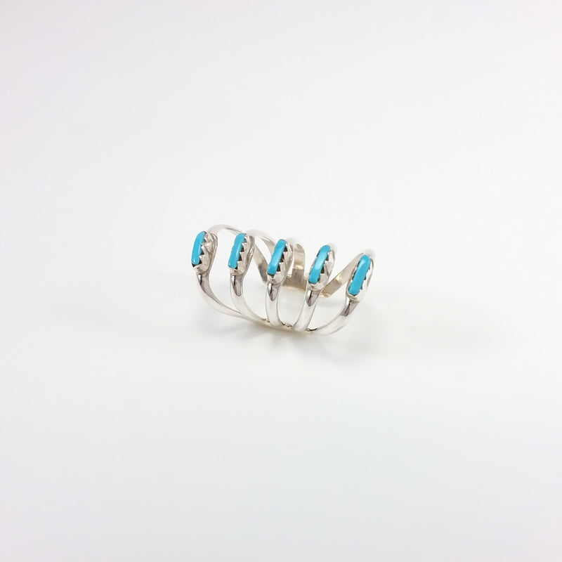 Zuni turquoise sterling silver ear cuff.