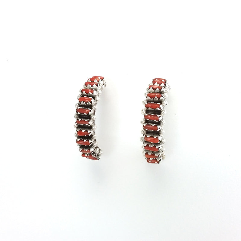Zuni coral sterling silver needlepoint hoop earrings.