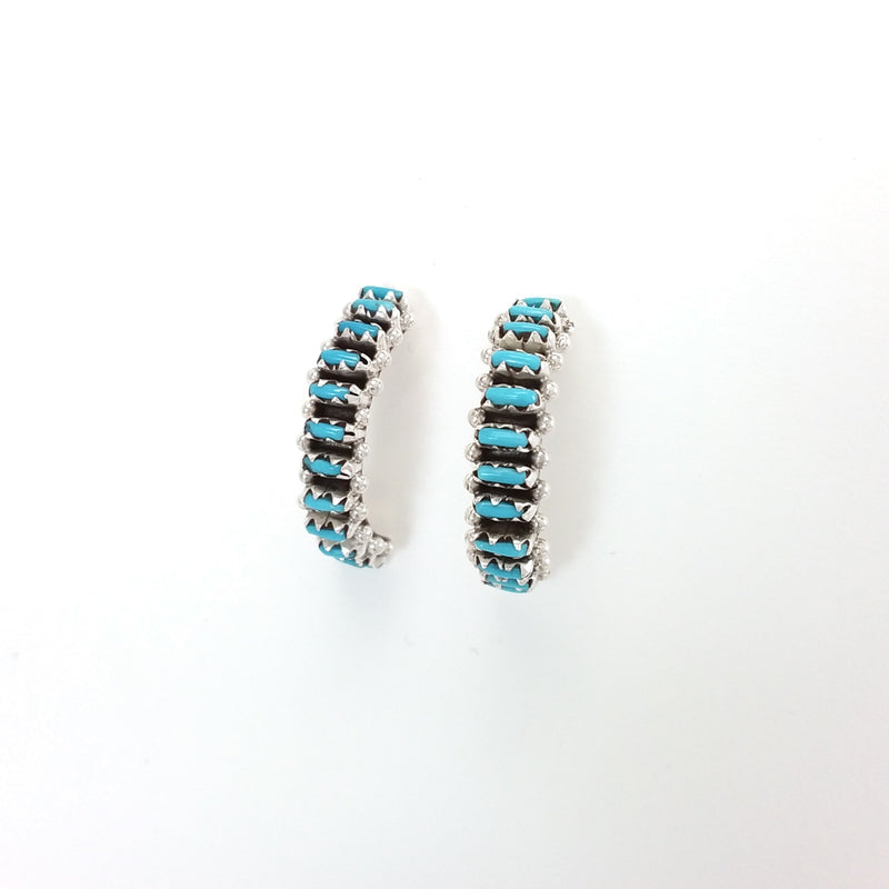 Zuni turquoise sterling silver needlepoint hoop earrings.