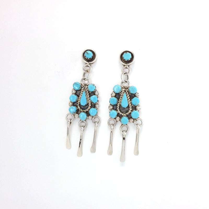 Zuni turquoise sterling silver earrings.